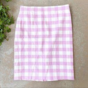 J Crew No 2 Pink Gingham Plaid Pencil Skirt